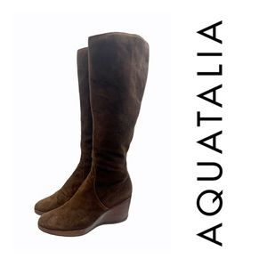 Aquatalia Wedge Tall Suede Boots Brown